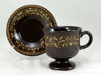 Franciscan China JAMOCA Footed Cup and Saucer Set 3.5 in. Brown No Backstamp