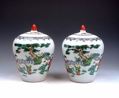 *Ship From U.S* Pair Chinese Famille-Rose Ancient Lady Kids At Play Lidded Jars