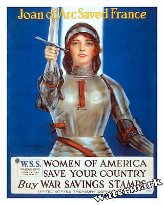 War Art WWI Poster Joan of Arc saved France by William Coffin  Year 1918 11x14