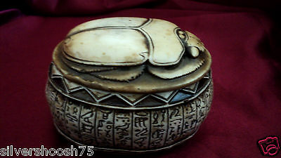 New Ancient Egyptian Good Luck Scarab Beetle Ornament Jewellery Trinket Box