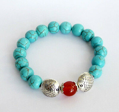 Blue Howlite Turquoise Beads Alloy Metal Fish Red Agage Gem Stretched Bracelet