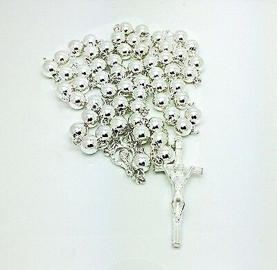 Silver/P Virgin Mary MEDAL & Crucifix ROSARY BEADS / NECKLACE Extra Large Size