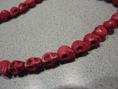 16 inch faux Red Coral Scull Skull Bead Necklace Devilish