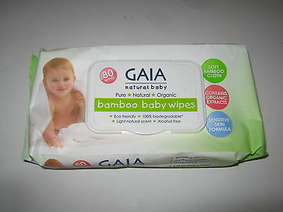 3 pack x 80 wipes (240 Wipes) GAIA Natural Baby BAMBOO WIPES 100% Biodegradable