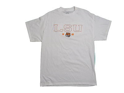 LSU TIGERS ADULT WHITE EMBROIDERED SHORT SLEEVE T-SHIRT NEW