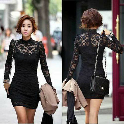HOT Women's Long Sleeve Polo Neck Sexy Clubwear Party Cocktail  Mini Lace Dress