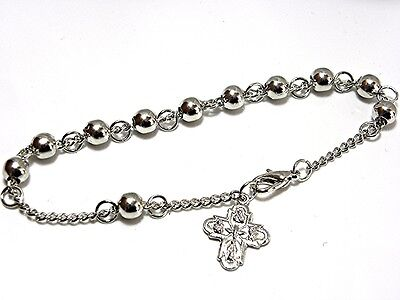 Metal BEADED Silver/P ROSARY BRACELET w/ Multi Subject CRUCIFIX