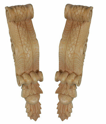 Lattice Bracket Corbels, hand carved (Pair) #529 in Pine wood