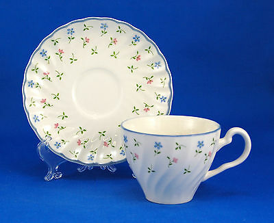 Johnson Brothers MELODY Flat Cup and Saucer Set 2.75 in. Scalloped Flowers Blue