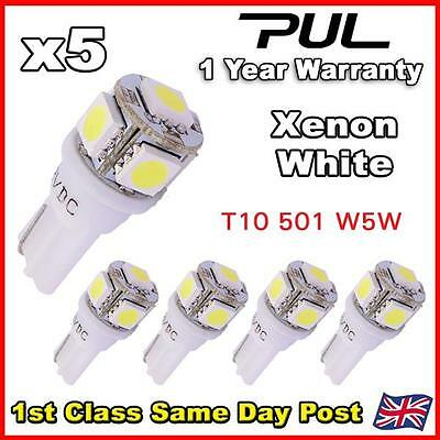 5X 5 Smd Led 501 T10 W5W Push Wedge 360 Hid White Side Light Bulb