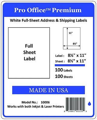 "100 Full Sheet shipping Labels Pro Office Premium 8.5"" X 11"" Self Adhesive 5165"