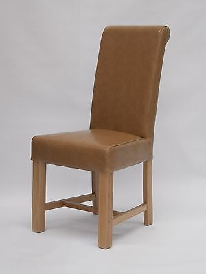 Dalton solid oak furniture set of two tan leather dining chairs