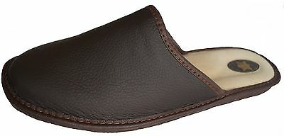 'Marited' Mens / Womens Natural Leather BROWN PLAIN slippers mule all sizes