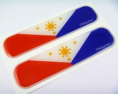 "Philippines Flag Domed Decal Emblem Chrome Car Flexible Sticker 5"" Set of 2"