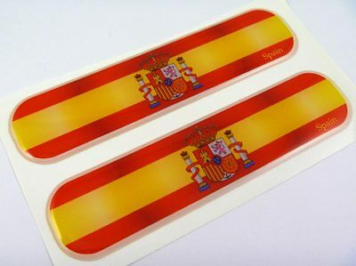 "Spain Spanish Flag Domed Decal Emblem Chrome Car Flexible Sticker 5"" Set of 2"