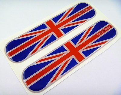 "Great Britain Flag Domed Decal Emblem Chrome Car Flexible Sticker 5"" Set of 2"