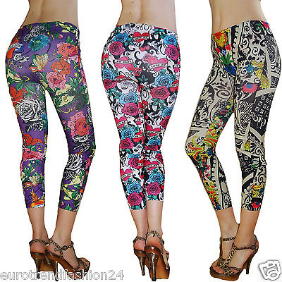Damen Leggings Treggings Kinder Mädchen Jeggings Leggins Tattoo 34-38 152-158