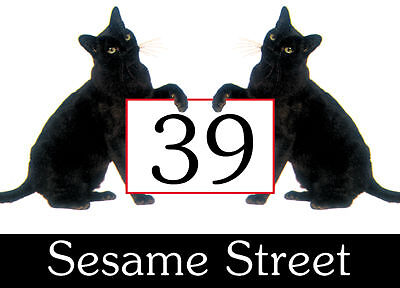 Cats. Wheelie Bin Stickers x 4 ( two black cats ). House No/Street. 160x110mm