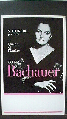 GINA BACHAUER Window Card S. HUROK Queen Of Pianists TOUR c.1950s - 1960s