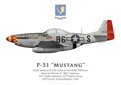 """Print P-51D Mustang """"Old Crow"""", """"Bud"""" Anderson, 363rd FS, 357th FG (by G. Marie)"""