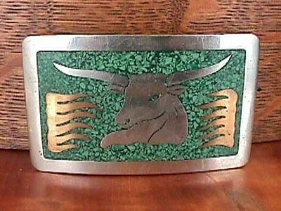 Vintage HECHO Mexico Silvertone Turquoise Bull BELT BUCKLE