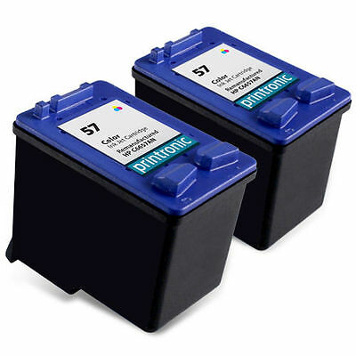 2pk Printronic For Hp 57 C6657AN Color Ink Cartridge