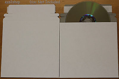 "200 Generic CD DVD White Cardboard Envelope Self Adhesive Mailers 6""x6"""