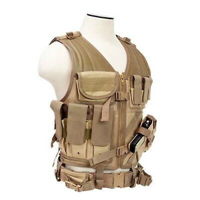NEW NcSTAR 2XL Tan Military LE MOLLE X-Draw Gun Tactical Combat Assault Vest