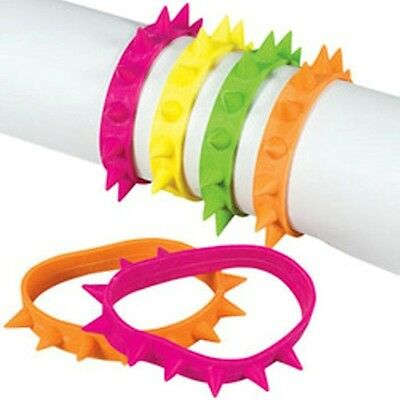 12 New Assorted Colored Rubber Spike Bracelets #B1247