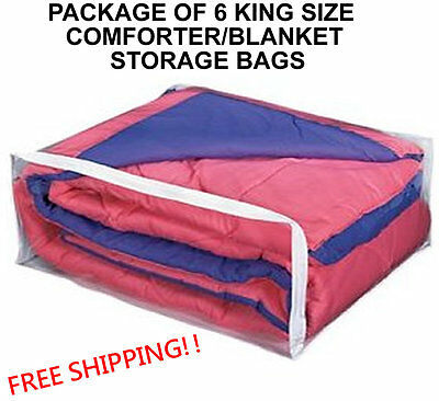 6 King Size Comforter Storage Bags  - Package Of 6 Blanket (King) Bag