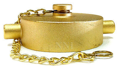 "2-1/2"" Cap and Chain NST - Brass Plated Cast Aluminum for Fire Hose or Hydrants"