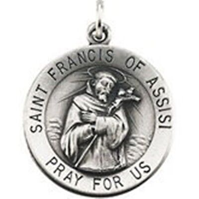 "Saint St Francis Pray For Us Sterling Silver Medal  1"" W  S Steel Chain 18"""
