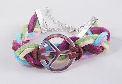 12 Brand New Multi Colored Suede Peace Sign Bracelets #B1191