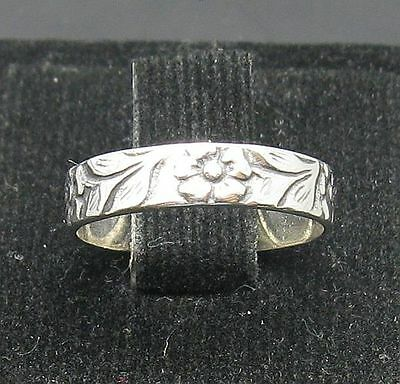 Stylish Small Sterling Silver Ring Solid 925 Flower Band Size A - L New Children