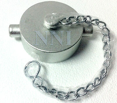 """1-1/2"""" Cap and Chain NST - Chrome Plated Cast Aluminum for Fire Hose/ Hydrants"""