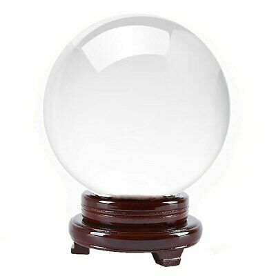 "Clear Crystal Ball Quartz 110mm 4.2"" With Wooden Stand TOP USA SELLER"
