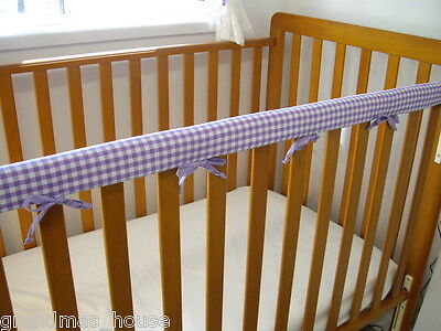 1 x Baby Cot Rail Cover Crib Teething Pad  Purple Gingham ***REDUCED***