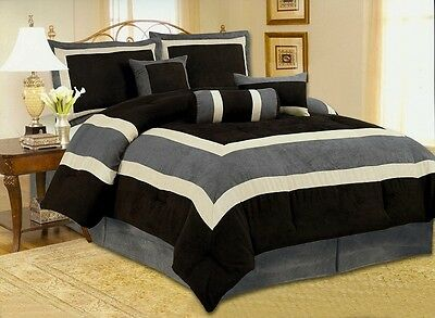 Soft Micro Suede Comforter Set bedding-in-a-bag, Black green blue or Curtain Set