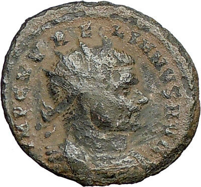 AURELIAN  receiving wreath from woman 270AD Ancient  Roman Coin i27281