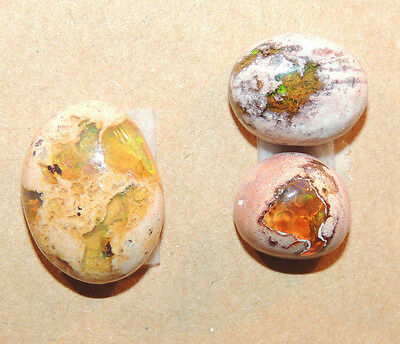 Mexican Fire Opals 10x10 10x12 13x16 with 5-6mm dome Set of 3 cabochons (2008)