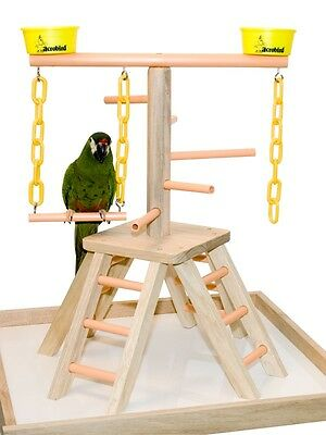 """Parrot Perch Pet Bird Play Stand Table Top Perch Play Gym 20"""""""