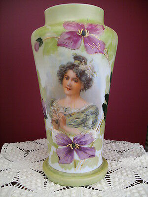 Antique ? Hand Painted & Transfer Milk Glass Vase