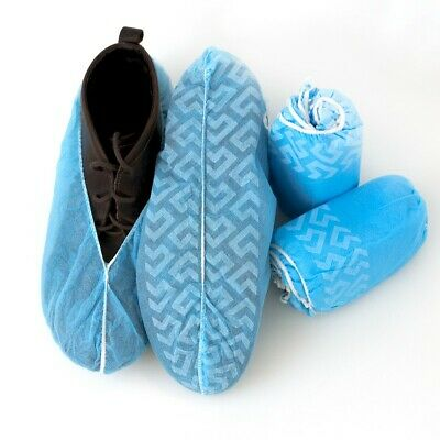 1000 pk. BLUE NON-SKID BOOTIES, DISPOSABLE, POLYPROPYLENE SHOE COVERS, SZ. LARGE