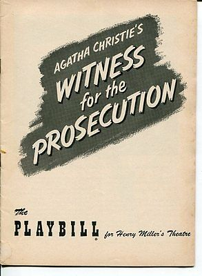 Francis L. Sullivan Patricia Jessel Witness For The Prosecution 1955 Playbill