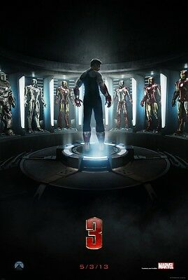 """Marvel IRON-MAN 3 2013 Advance Teaser DS 2 Sided 27x40"""" Movie Poster R Downey Jr"""