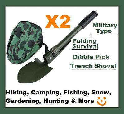 2x Military Type Folding Survival Dibble Pick Trench Shovel Camping Hiking New