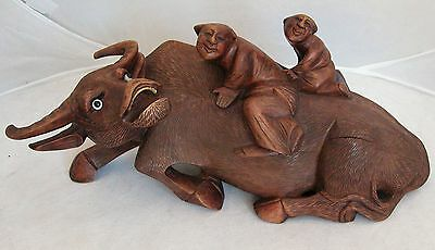 "Antique Chinese Carved Wood Statue of Ox or Water Buffalo w/ 2 Children  (10.7"")"