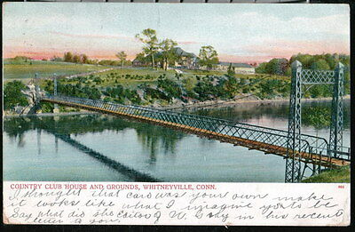 WHITNEYVILLE CT Country Club House Foot Bridge Antique Glitter Postcard Old Vtg