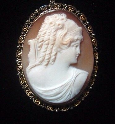Antique Large  Carved Shell Cameo Pendant  w/Gold Filled Chain