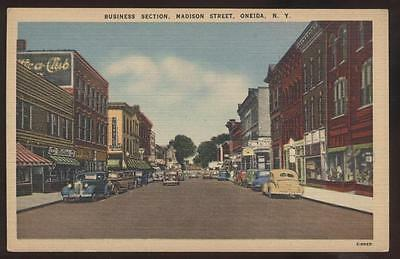 Postcard ONEIDA,New York/NY  Business Storefronts view 1930's